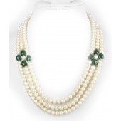 JanmPatrika 3 String Round Pearl Emerald Bead Necklace With Silver Lock