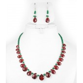JanmPatrika Single Strand Drop Ruby Bead With Emerald String Gemstone Necklace