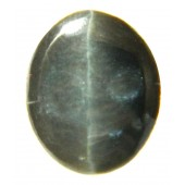 JJ GemsGreenish Black Cabochon Cat's Eye Semi-precious Gemstone - 5.995 Ratti