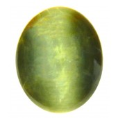 JJ GemsGreen Cabochon Cat's Eye Semi-precious Gemstone - 8.03 Ratti
