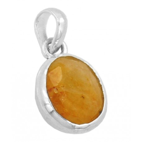 JanmPatrika 4.25 Ratti Yellow Sapphire Gemstone Astrological Silver Pendant