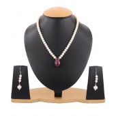 JanmPatrika Gems Single Line Cultured Pearl Necklace With Ruby Pendant